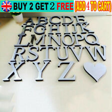 Mirrored 26 Letters Heart Shape Wall Stickers Decal for Art Mural Home Decor