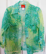 HEARTS OF PALM Petite Size 8P Green Sheer Cover Up Blouse-3/4 sleeve