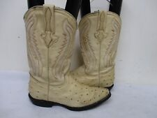 Cream Ostrich Embossed Leather Cowboy Boots Youth Size 24 Mexico