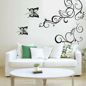 Removable Butterfly Vine Flower Vinyl Art Wall Stickers Decal Mural Home Decor