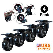 4 Pack Caster Wheels Heavy Duty Rubber Swivel Plate Caster Mute Ball Bearing