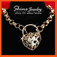 24K YELLOW GOLD GF N10 LADIES BELCHER HEART PADLOCK RINGS CHAIN SOLID NECKLACE