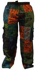 Mens Summer Hippie Cargo Pockets Combat Trousers Patchwork Festival Pants