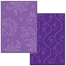 Sizzix 2 Embossing Folders --- Damask & Beaded Floral Stripe  Set --  A6 Large