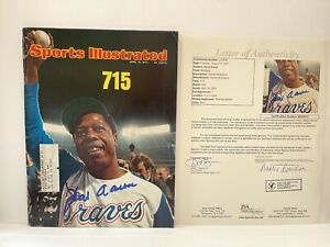 """Hank Aaron """"715"""" Home Runs Signed Sports Illustrated  1974 JSA Letter Of Auth"""