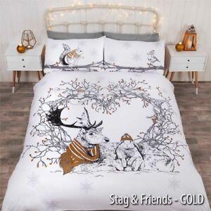 Winter & Christmas Print Duvet Quilt Cover Bedding Set & Pillowcases