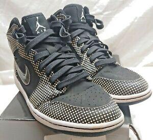 Nike Air Jordan 1 Retro BLACK WITH WHTE Polka Dot Shoes Size 11.5 With  Box