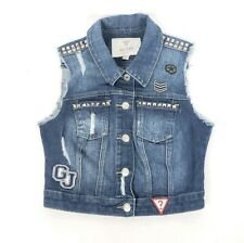 Guess Denim Button Front Studded Vest Girls Embellished Size Small