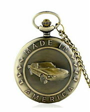 Pocket Watch with Chain Dream Car Classic Ford Mustang made in America FREE SHIP