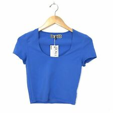 Groceries Apparel NWT Womens M Scoop Neck Fitted Crop Top Blue Organic Cotton A3