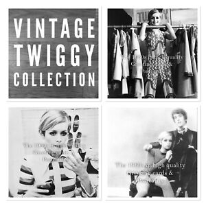 S21. Vintage Twiggy Collection. 1960s Greeting Cards And Postcard. Sixties