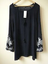 New Womens Ex Evans Navy Embroidered Trim Peasant Top Blouse Plus Size 16-26
