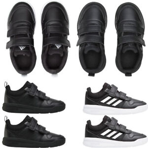 Adidas Kids Boys TENSAUR School Shoes Black Trainers Casual Sneakers Strap Size
