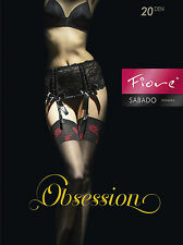 Fiore Sabado Stockings 20 Denier Red Floral Patterned Tops - NEW 1 Pair Black