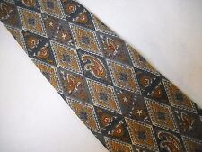 Christopher Hayes Neck Tie Steel Blue Gold 100% Silk Diamond Paisley Floral