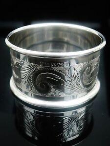 Silver Napkin Ring, Birmingham 1995, Laurence R Watson & Co, Bright Cut
