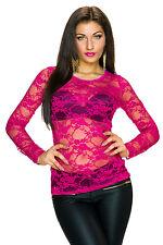 Top transparent Netz Langarmshirt T-Shirt Damen Spitze S 34 36 Party Mode NEU