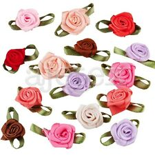 50pcs Satin Ribbon Rose Flower Craft Wedding Appliques Favor DIY Multi-Color IF