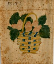 Antique THEOREM on VELVET of BASKET of STRAWBERRIES - DATED 1817