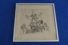 Antique Signed Hans Meid Etching - Akrobatenfamilie - Circus Acrobat Family