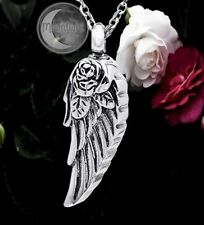 New Rose Angel Wings Cross Urn Cremation Pendant Ash Silver Memorial Necklace