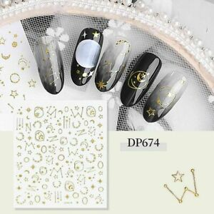 Gold Moon Stars Planets Zodiac Nail Nails Art 3D Decal Wraps Stickers Y674