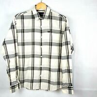 Hurley Cream Brown Striped Cotton Long Sleeve Button Up Shirt Size Small