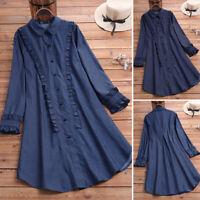 ZANZEA Women Autumn Winter Ruffled Blue Denim Shirt Dress Tunic Top Blouse Tee