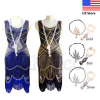 Vintage 1920s Flapper Dress Great Gatsby Fringe Dresses Lady 20s Roaring Costume