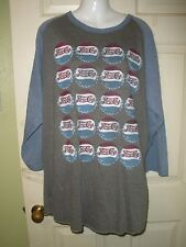 #710 Men Shirt XL Pepsi Cola Ragland Blue Vintage Style bottle caps Tee New NWT
