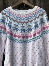 Vtg Pastel Sweater S Fair Isle Heart 80s Kawaii Fairy Kei Small