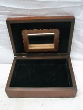 Vintage Rosewood Dresser Trinket Wooden Box Ornate Guitar Match Pattern Mirror