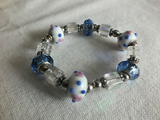 "Stunning Stretch Bracelet Silver Tone Blue AB White Fancy Beads 1/2"" Wide  NICE"
