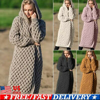 US Plus Size Women's Long Sleeve Knitted Cardigan Sweater Outwear Coat Jacket