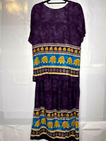 Purple Midi Length Skirt And Top Elephant Print Possibly Vintage Set Size M/L