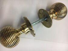 1 Pair Brass Beehive Door handles Antique Style reeded Mortice Brass Door Knob