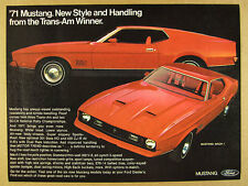 1971 Ford Mustang MACH 1 red car color photo vintage print Ad