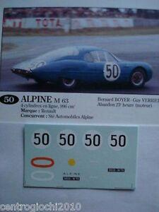 1/43 DECALS CAR ALPINE RENAULT M63 24 LE MANS 1963 Driver BOYER-VERRIER