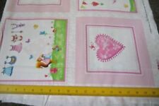 """SALE Red Rooster Fabrics Bundle of Pink Baby Hearts Storks Squares 23"""" Panel"""