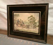 Antique 1920's Embroidered Linen Needlework Picture London Stagecoach Framed