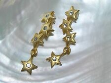 Estate Long Brushed Goldtone with Clear Rhinestone Center Star Line-up Dangle