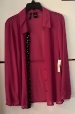 New Directions Sheer Red Blouse. Size PXL NWT
