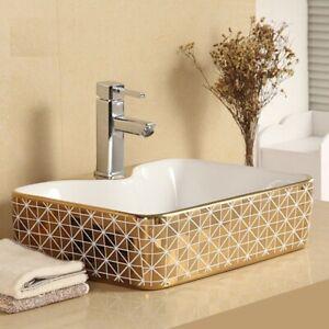 Bathroom Cloakroom Ceramic Vanity Counter Top Wash Basin Sink Washing Bowl Gold
