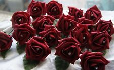 20 Diamante Burgundy Rose Wedding Flowers Buttonholes Artifical With Pins