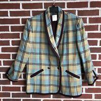 Vintage Harve Benard Plaid Blazer Suit Coat Womens Sz 18 100% Wool/Laine RARE