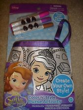 """NEW Disney Sofia the First Color N Style Fashion Purse 5"""" x 6"""" markers gems"""