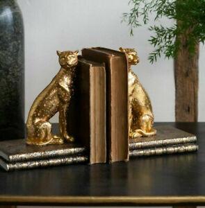 Leopard Book Ends Pair Library Shelf Organiser Bookcase Ornament Office Mantel