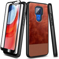 For Motorola Moto g PLAY (2021) Case, Shockproof Leather Cover + Tempered Glass