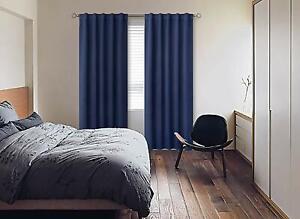 Thermal Blackout Curtain Bedroom kitchen Kids Room Back Tab & Rod Pock Navy Blue