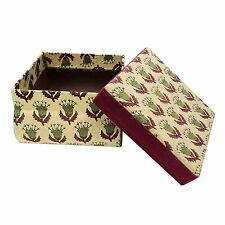 Decorative Beige Printed Handmade Paperboard Fabric Storage Jewelry Gift Box